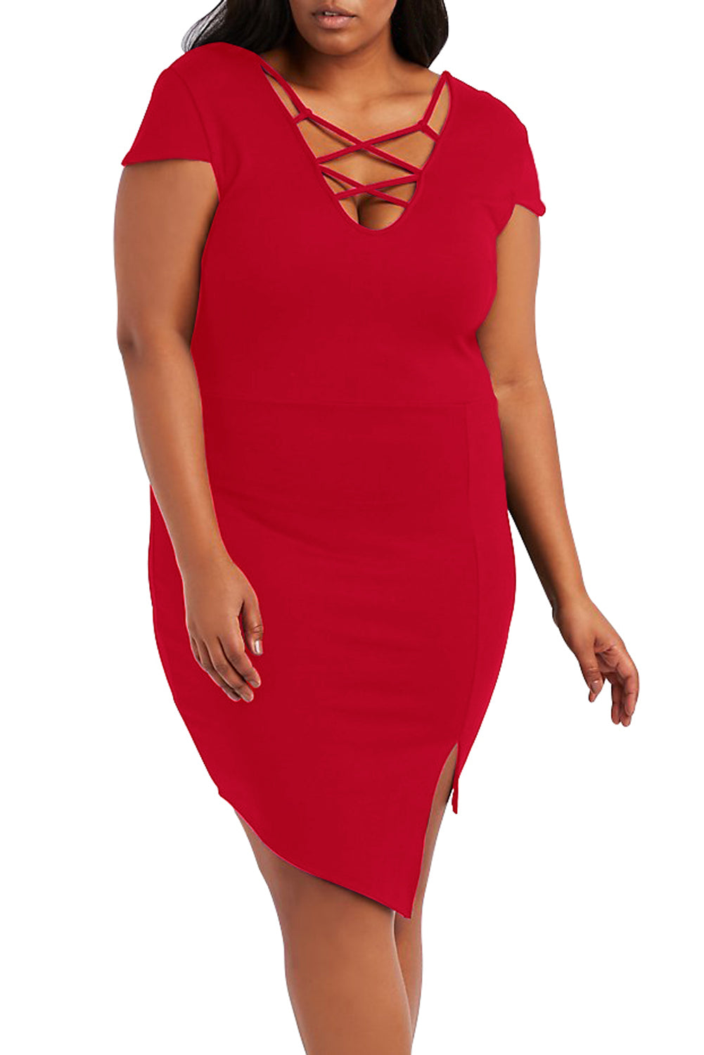 Plus Size Red Strappy Asymmetrical Bodycon Dress