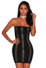 Black Gold Hook & Eye Strapless Bandage Dress