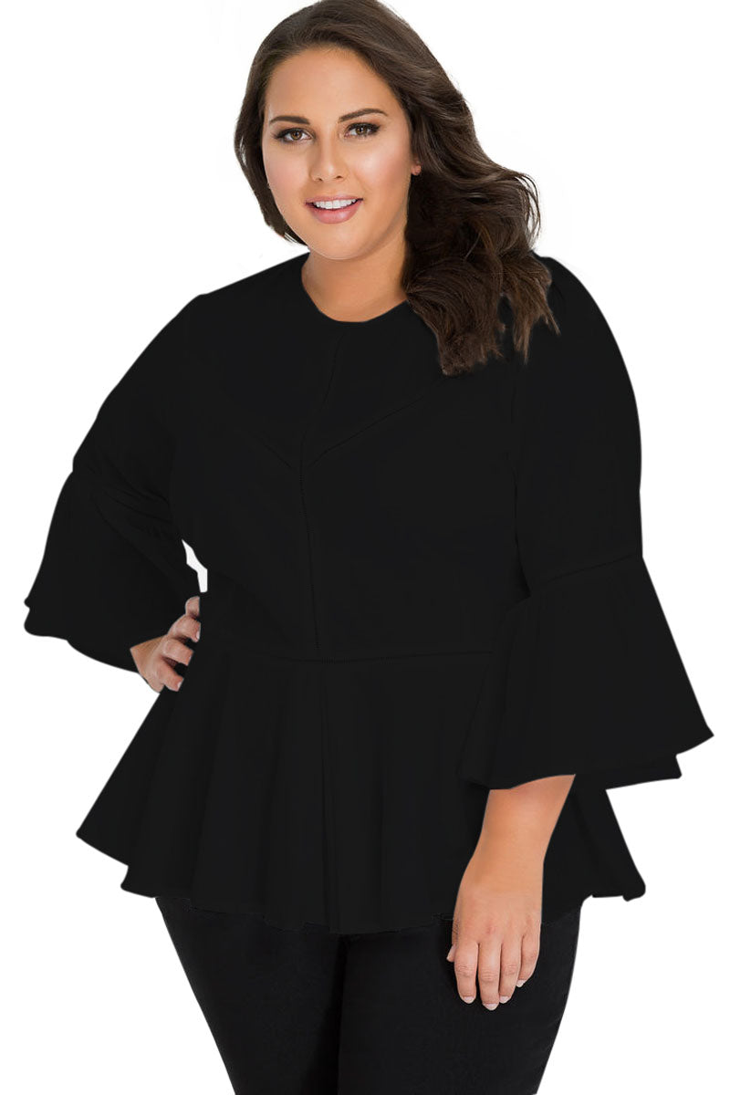 Black Crochet Insert Bell Sleeve Plus Size Top