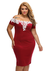 Lace Crochet Pencil Dress - Online Women Plus Size Dress