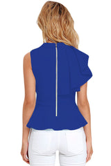 Blue Asymmetric Ruffle Side Peplum Top