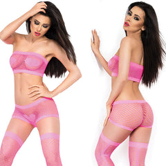 Heart Pattern Fishnet Lingerie Set - Online Women Short sets