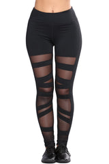 Black Mesh Active Leggings