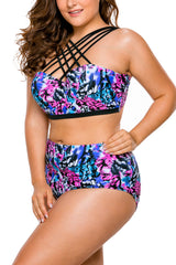 Bright Strappy High Neck Printed 2pcs Plus Size Swimsuit