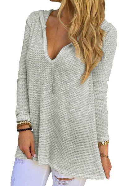 Grey Hooded V-Neck Long Sleeve Loose Knitted Top