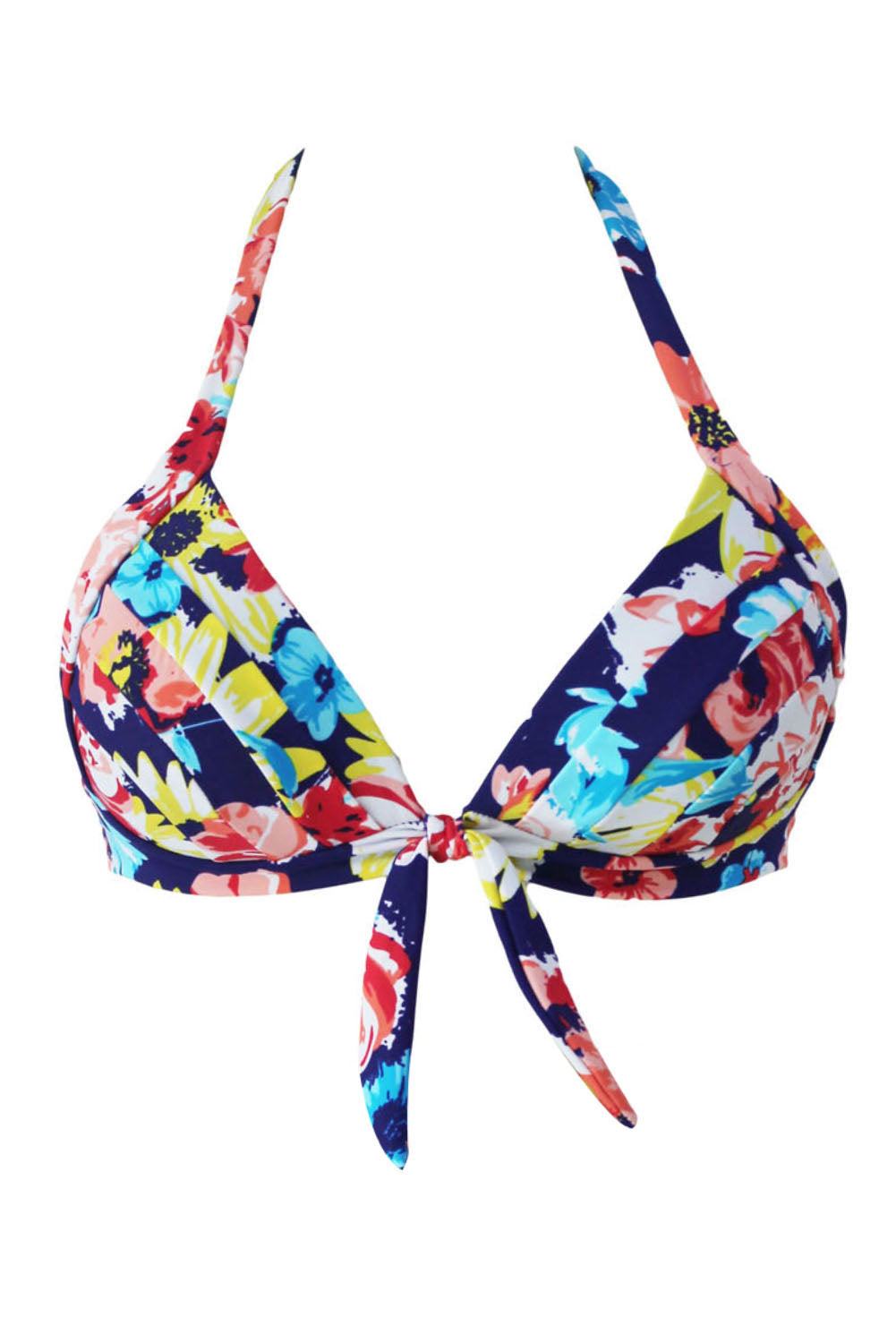 Blooming Navy Retro Tie Front Plus Bikini Top