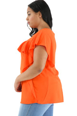 Orange Ruffled Detail Flutter Sleeves Plus Size Top