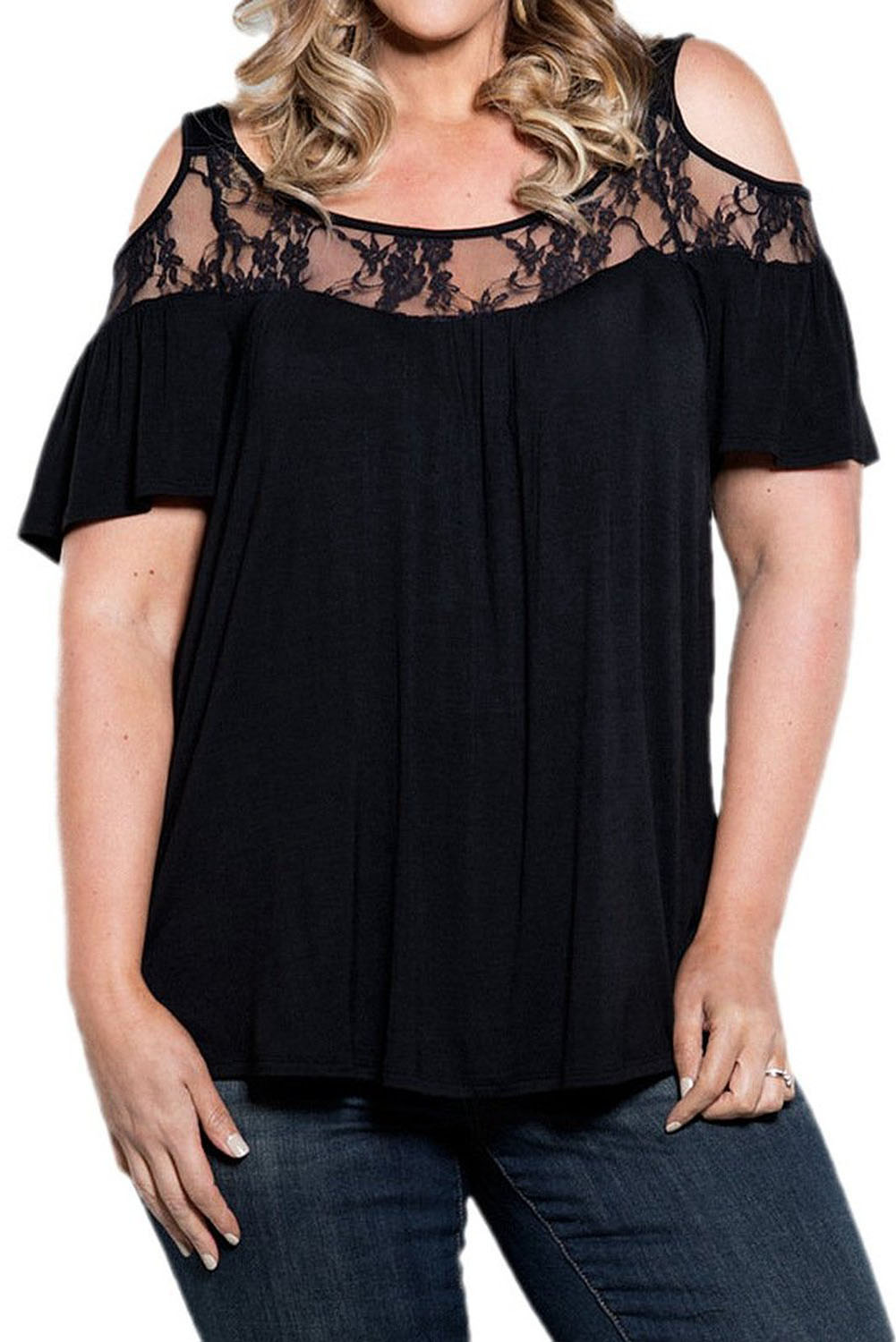 Black Floral Lace Yoke Cold Shoulder Pleated Plus Size Blouse