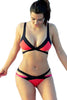 Red Bandage Color Block Bikini Swimsuit