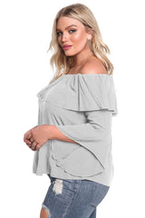 Layered Off Shoulder Gauze Blouse - Online Women Plus Size Dress