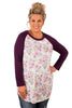 Wine Raglan Sleeve White Floral Plus Size Top