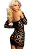 Long Sleeves Open Holes Black Chemise Dress