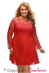 Red Boohoo Plus Size Lace Top Skater Dress
