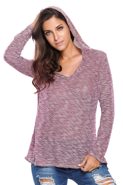 Burgundy Hooded V-Neck Long Sleeve Loose Knitted Top