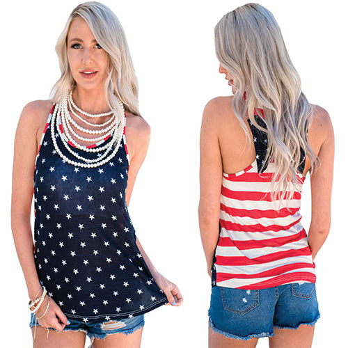 Stars Front Striped Back Flag Pattern - Online Women Vests & Waistcoats Dress