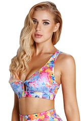 Abstract Painting V Neck Sport Bra with Keyhole