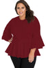 Red Crochet Insert Bell Sleeve Plus Size Top