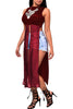 Burgundy Mesh Patchwork Sleeveless High Side Split Club Top