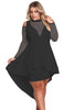 Black Plus Size Mesh Trim Hi-Lo Peplum Bodycon Dress