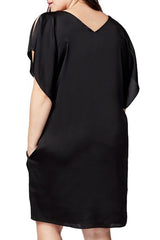 Black Flutter Sleeve Plus Size Shift Dress