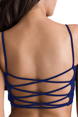 Blue Light Padded Criss Cross Back Yoga Sports Bra