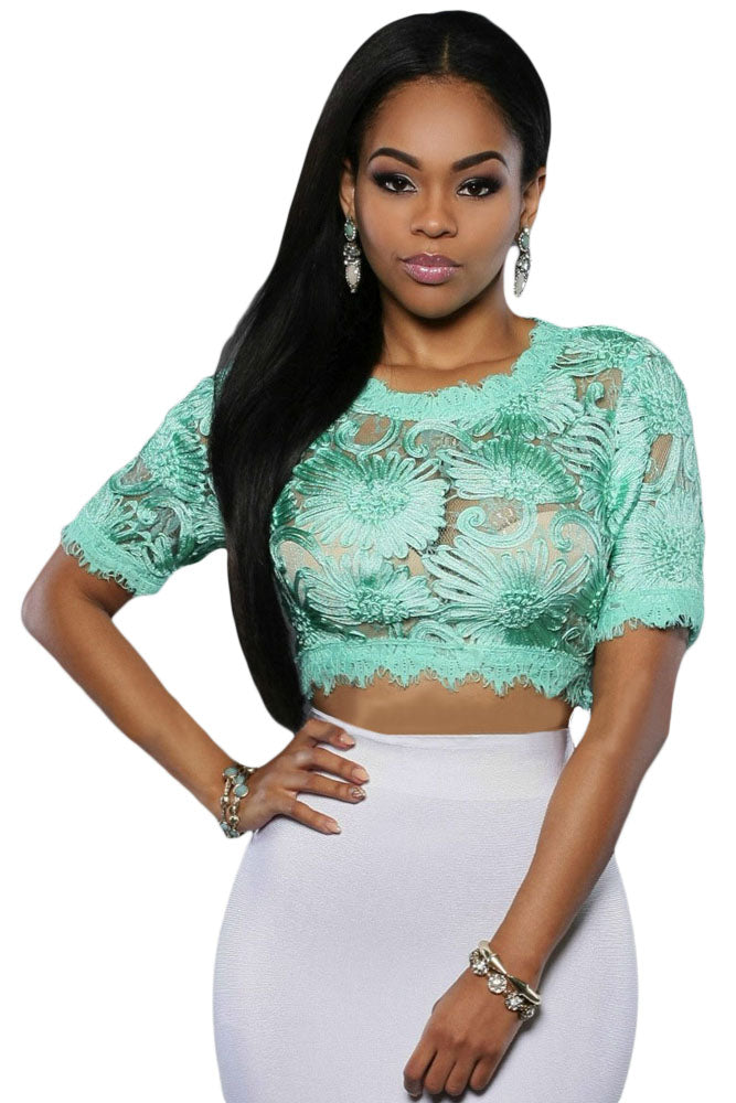 Mint Green Floral Embroidered Crop Top