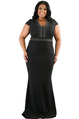 Rhinestone Front Scalloped Dress - Online Women Plus Size Dress