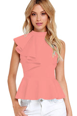 Pink Asymmetric Ruffle Side Peplum Top