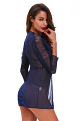 Navy Lace Chiffon Long Sleeve Babydoll with G-string