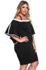 Black Plus Size Cold Shoulder Bell Sleeve Bodycon Dress