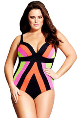 Plus Size Strapped Color Splice One Piece Swimwear
