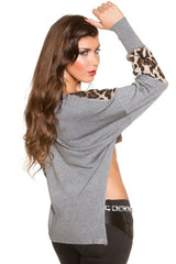 Leopard Splice High Low Crop Top Off White - Online Women Tops