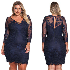 Floral Lace Embroidered Dress - Online Women Plus Size Dress