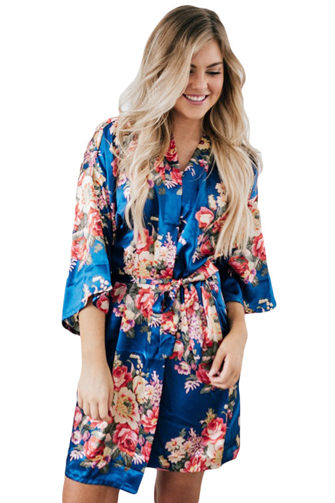 Royal Blue Silky Floral Bath Robe