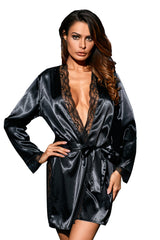 Classic Black Lace Trim Satin Robe