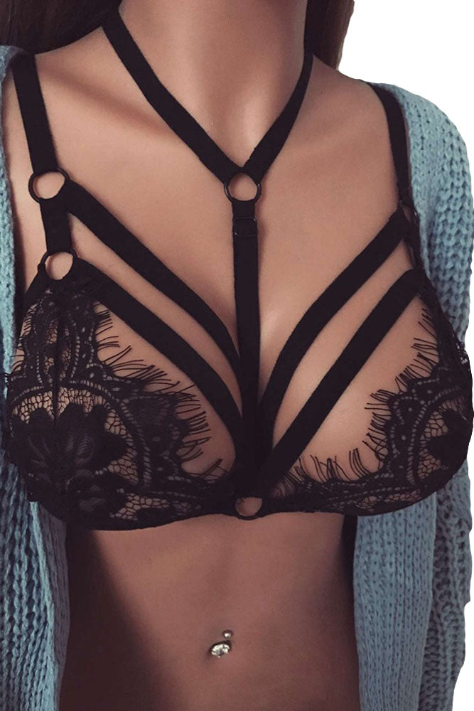 Black Eyelash Fringe Halter Lace Bralette Top