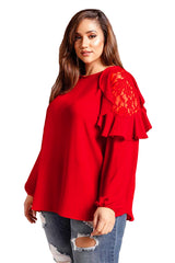 Red Ruffle Trim Lace Cold Shoulder Plus Size Blouse