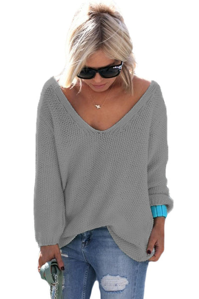 Grey Knitted Long Sleeve Plunge Jumper