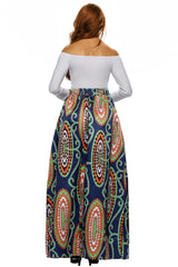 Abstract Floral African Print Navy Maxi Skirt - Online Women Skirts & Petticoat