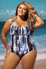 Abstract Print Style One Piece - Online Women Plus Size Swimwear