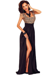 Amazing Gold Lace Overlay Slit Maxi Evening Gown - Online Women Evening Dress