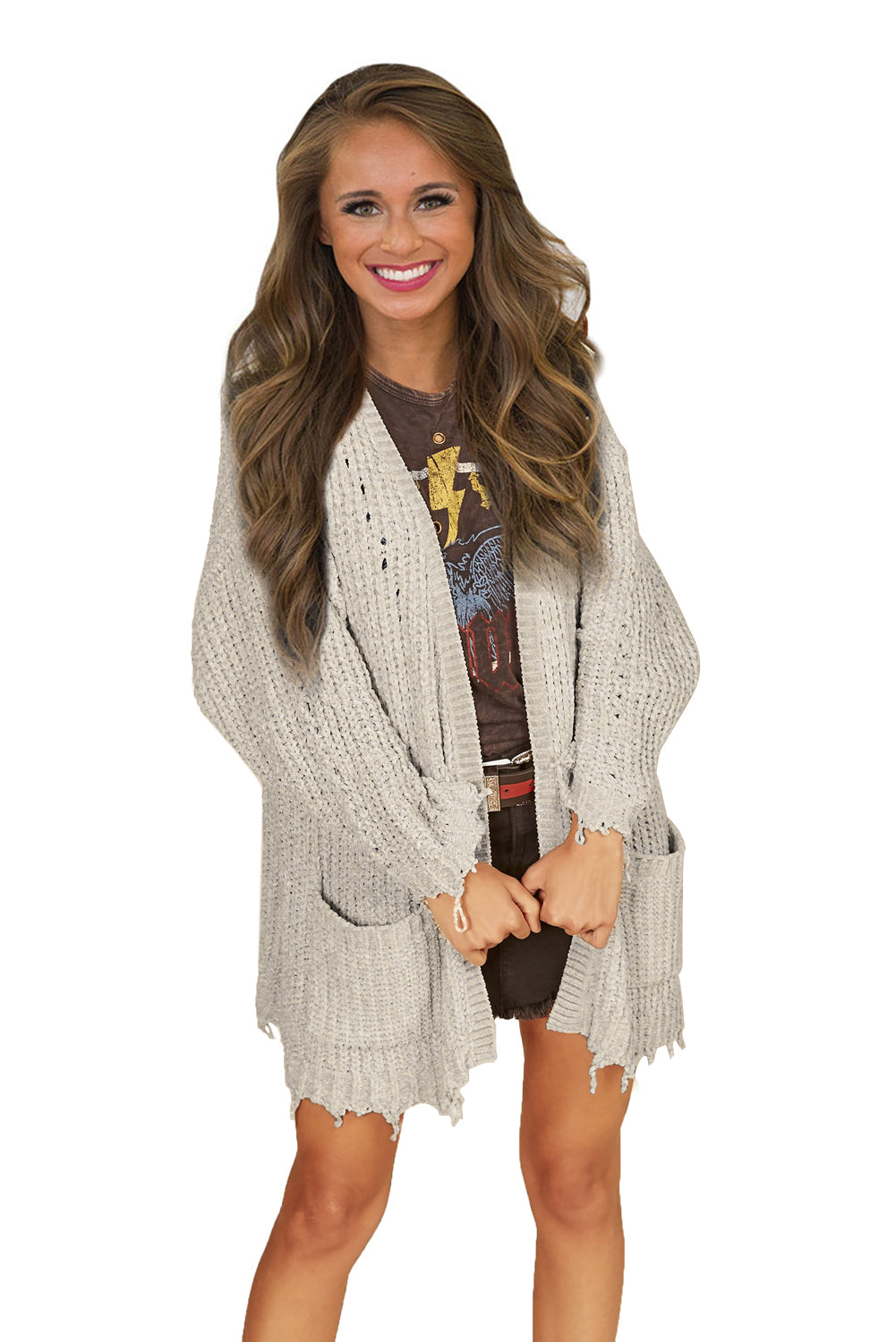 Apricot Chenille Knit Destroyed Cardigan Sweater
