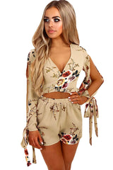 Floral Print Split Sleeves Crop Top and Short - Online Women Short sets