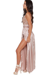 Apricot Sequined Silky Maxi Party Dress