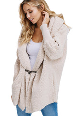 Apricot Woolen Fur Horn Button Oversize Jacket
