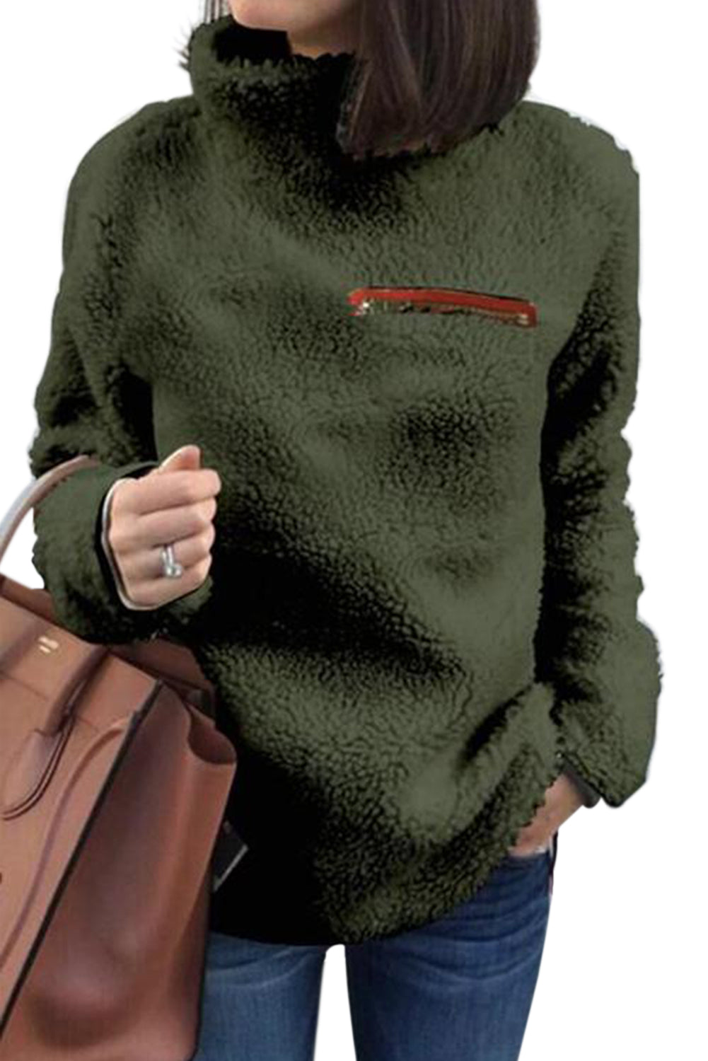 Army Green Plush Pullover Stand Collar Sweatshirt