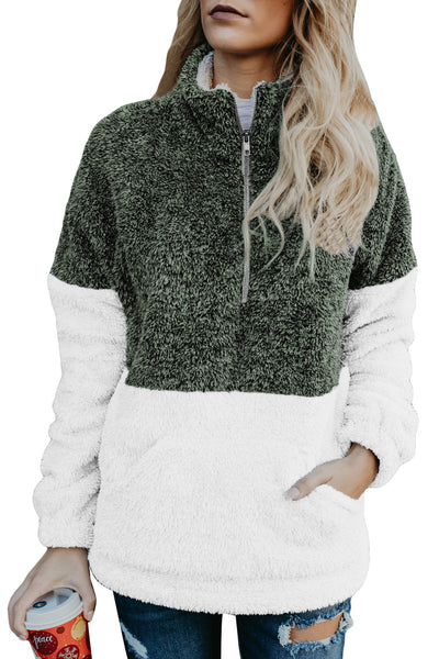 Atrovirens White Zip Neck Oversize Fluffy Fleece Pullover