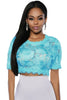 Baby Blue Floral Embroidered - Online Women Crop Tops