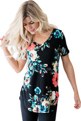 Big Floral V Neck Short Sleeve T-shirt - Online Women's T-Shirts Dresses