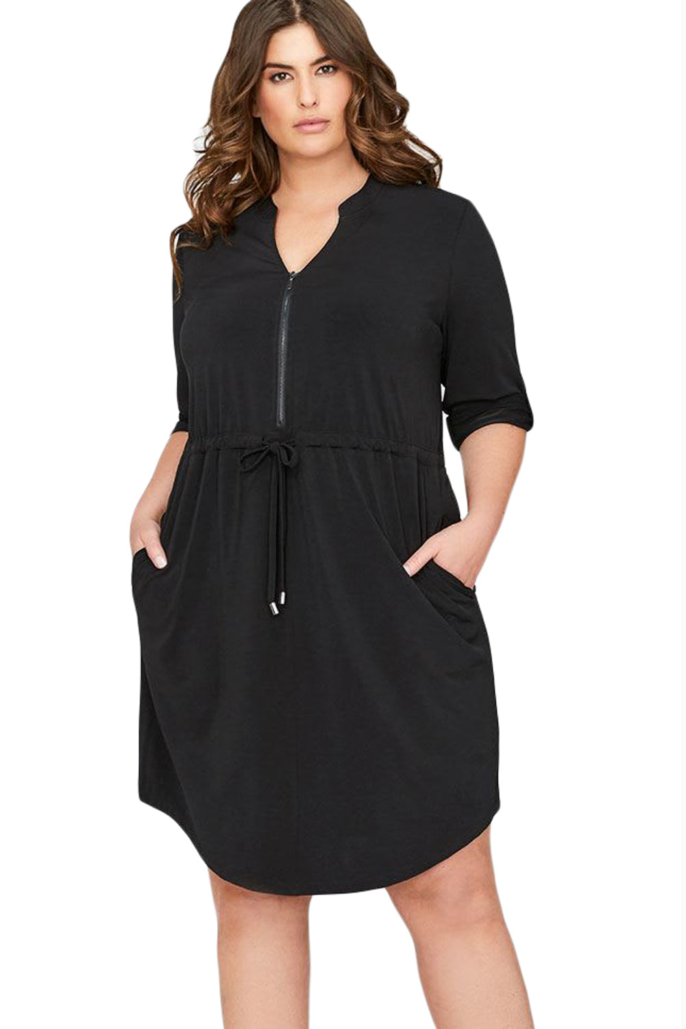 Black 3/4 Sleeve Plus Size Casual Jersey Dress
